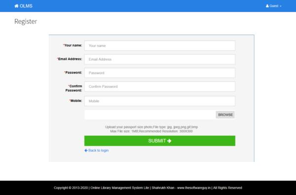 Library - User Register