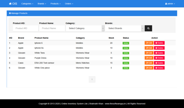 Inventory - Manage Products