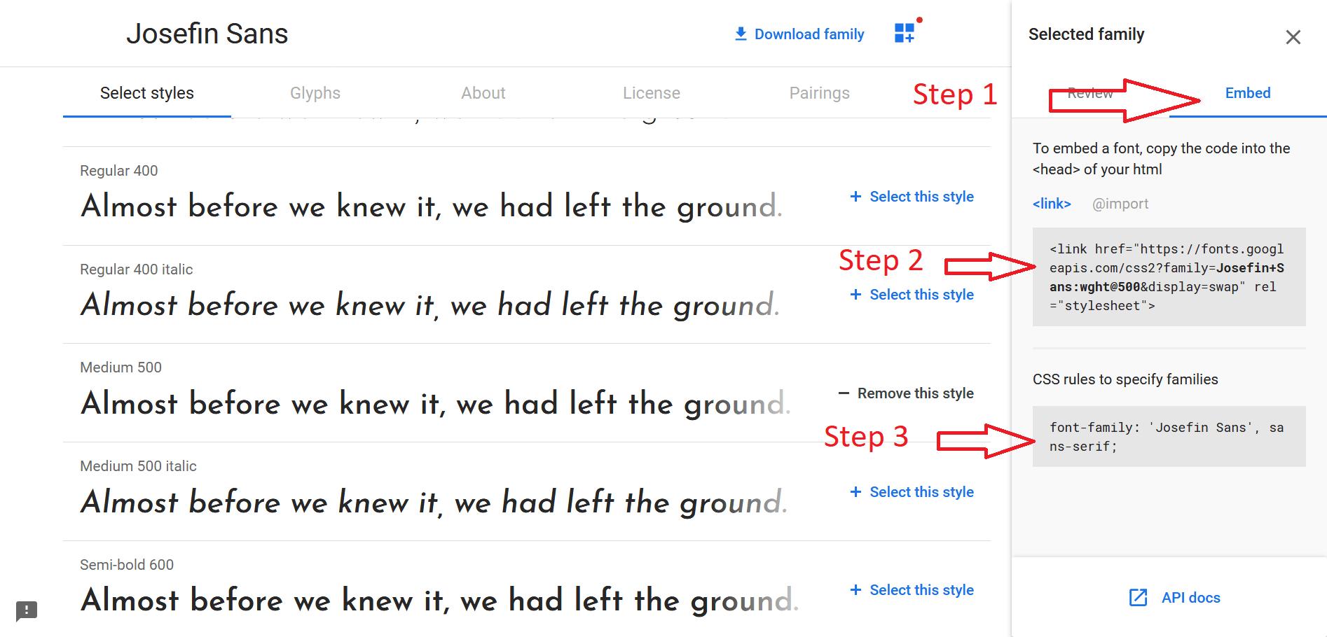Embed Google Fonts to web page