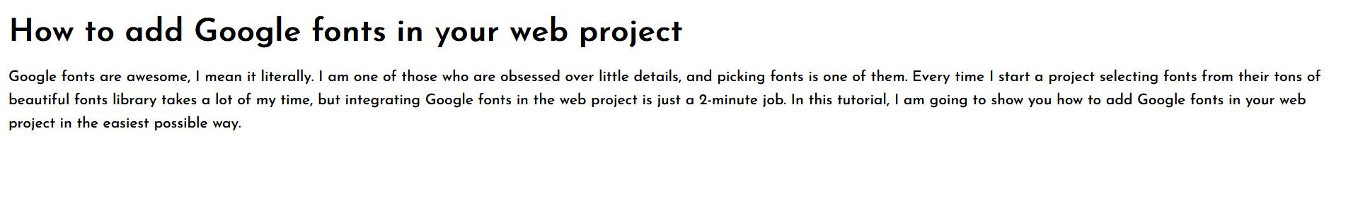 Goolge Font embed link output