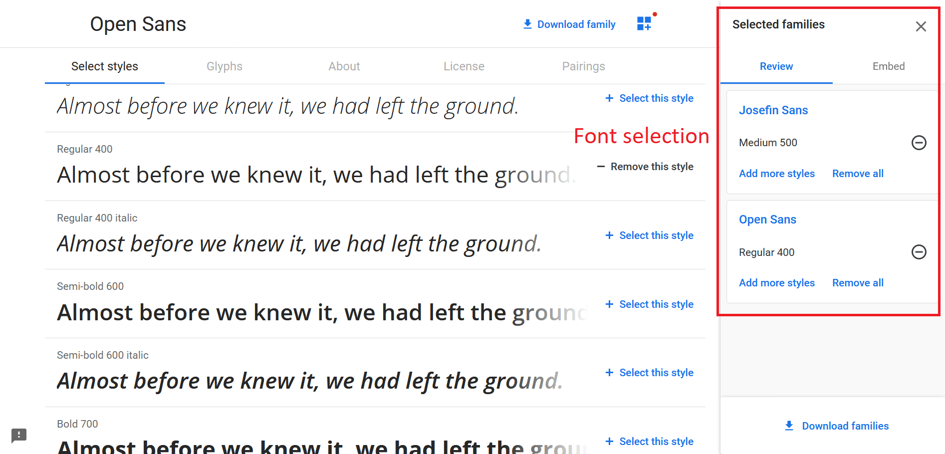 Multiple Google Font Selection
